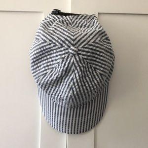 Blue & White seersucker baseball cap